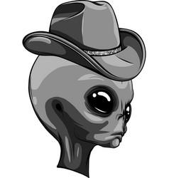 Design alien head with hat vector