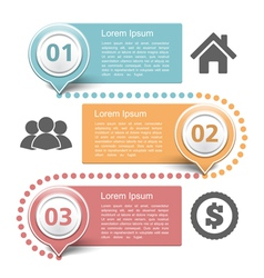 design template with three steps vector image