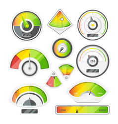 Different speed indicators pictures of vector