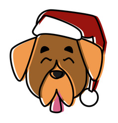 dog pet with christmas hat vector image