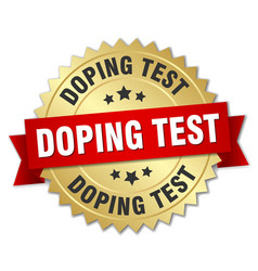Doping test round isolated gold badge vector