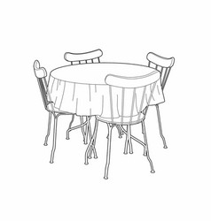 Table Tablecloth Drawing Vector Images 87