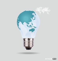 electric light bulb with a world map vector image