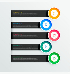 elegant infographic banners with five steps vector image