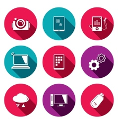 Exchange information technology flat icons set vector