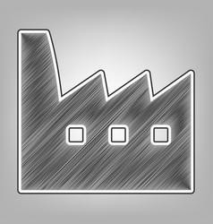 Factory sign pencil sketch vector