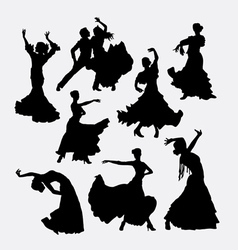 Flamenco traditional dance silhouette vector image
