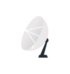 flat satellite radar dish with antenna icon vector image