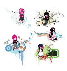 floral frames with emo kids vector image