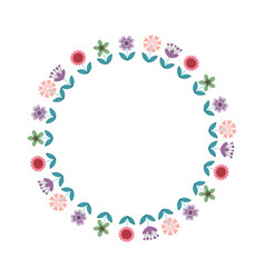 floral wreath decoration card vector image