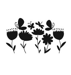 flowers and butterflies black silhouette for your vector image