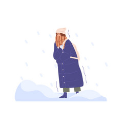 Frozen person walking in cold winter weather vector