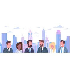 group of business people over modern city vector image