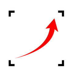 growing arrow sign red icon inside black vector image