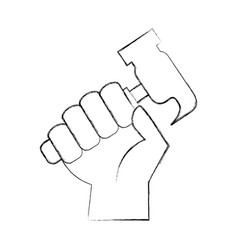 hand human with hammer tool vector image