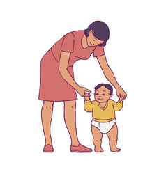 Happy mother standing with newborn baby vector