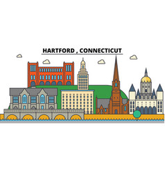 Hartford connecticut city skyline architecture vector