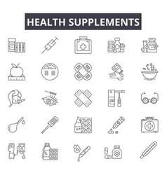 Health supplements line icons for web and mobile vector