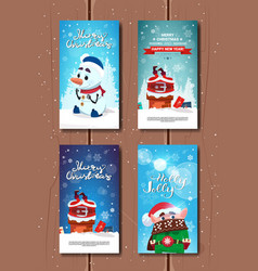 holly jolly greeting cards cute merry christmas vector image