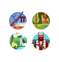 hunting set icons vector image
