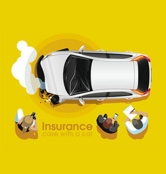 Insurance agents assess car accident damage vector