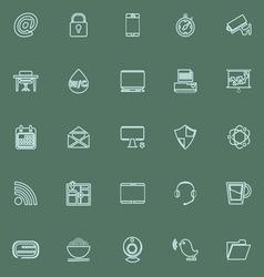 Internet cafe line icons blue color vector