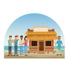 Kiosk at beach vector