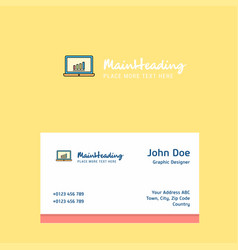 laptop logo design with business card template vector image
