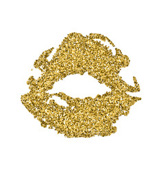 Lips print silhouette with golden sparkles golden vector