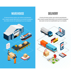 logistics isometric banners vector image