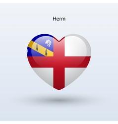 Love herm symbol heart flag icon vector