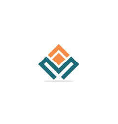 m initial shape line colored company logo vector image