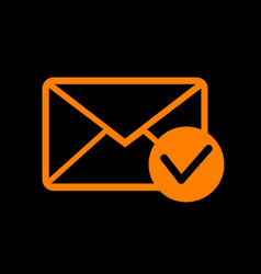 mail sign with allow mark orange vector image
