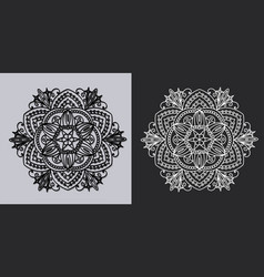 mandala or napkin black on white and white on dark vector image