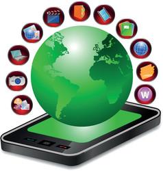 mobile world vector image