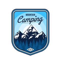 mountain camping icon outdoor adventure travel vector image