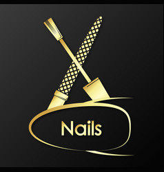 Nail care golden symbol vector