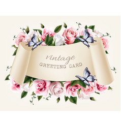 natural vintage greeting frame with roses and vector image