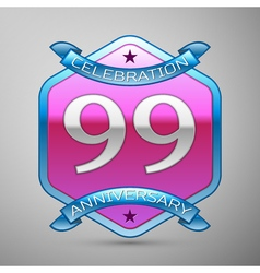 Ninety nine years anniversary celebration silver vector