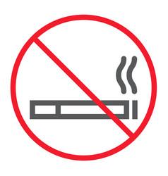 no smoking line icon prohibition and forbidden vector image