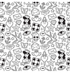 old school seamless pattern in rockabilly style vector image vector image