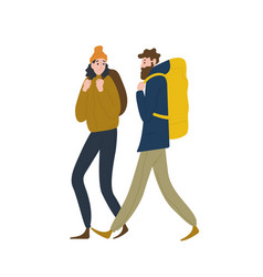 pair cute backpackers walking together vector image