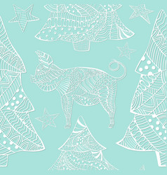 Pattern with ornate pig and christmas trees vector