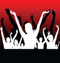 people black and white silhouette hand up vector image