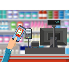 pos terminal confirms payment by bank card vector image