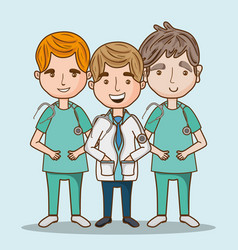 Professional men doctors occupation with uniform vector
