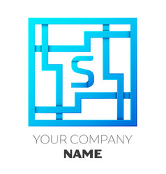 Realistic letter s logo in colorful square maze vector