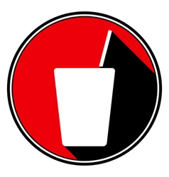 Red round black shadow - drink with straw icon vector