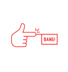 Red thin line finger with bang icon vector
