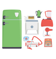 Retro vintage household appliances kitchenware vector
